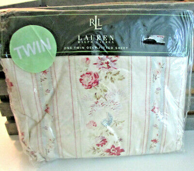 Ralph Lauren TWIN Fitted Sheet RARE Josie Rose Stripe Floral 100% Cotton NIP ()