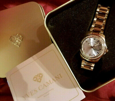 Damen Armbanduhr YVES CAMANI Montpellier Edelstahl Vergoldet Silber Zirkonia NEU