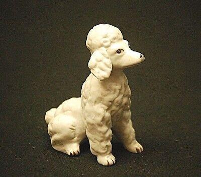 Old Vintage Mini Sz Large White Poodle Dog Bisque Figurine Shadow Box Shelf MCM