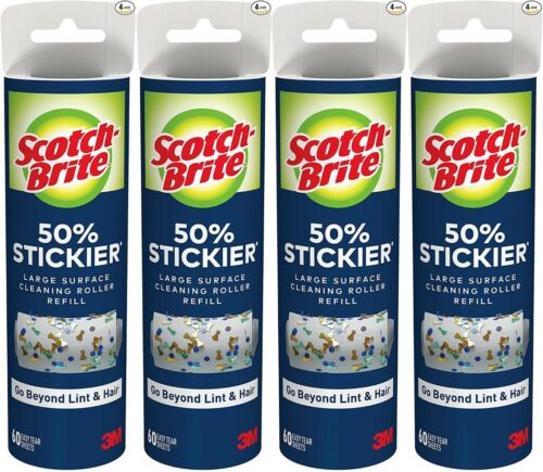 Scotch-Brite 50% Stickier Large Surface Lint Roller Refill, 8in x 31.4ft, 4-Pack