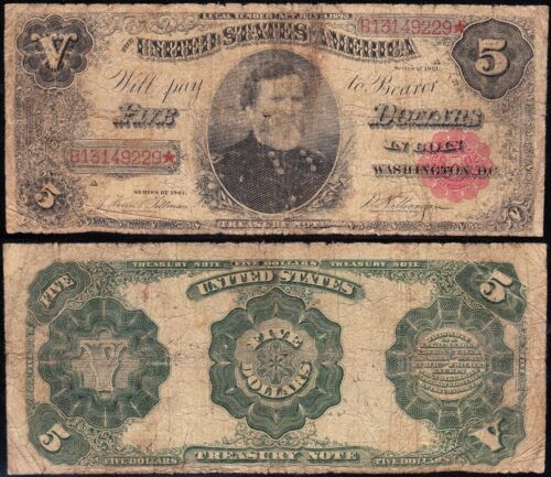 "Circulated 1891 $5 ""GEN. THOMAS"" Treasury Note! FREE SHIPPING! B13149229*"