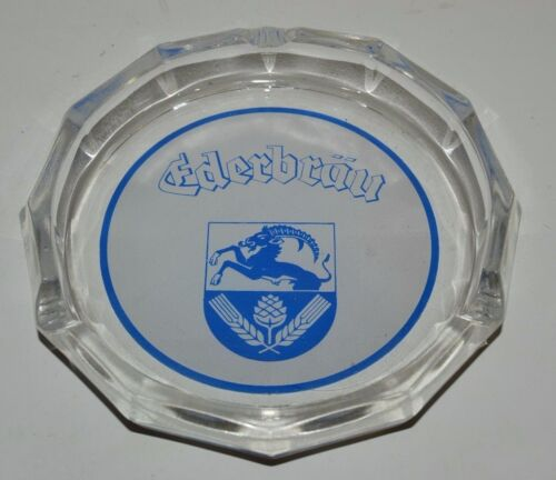 Vintage Large EDERBRAU Beer Glass Cigar / Cigarette Ashtray Rare 7""
