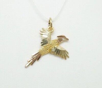 10K Yellow and Rose Gold Pheasant Bird Pendant/ Charm
