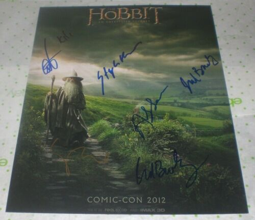 CAST SIGNED HOBBIT CON STYLE 11X14 PHOTO BY 5 AUTO COA TURNER PACE SERKIS ++
