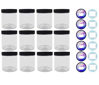 Empty Slime Storage Containers - 12 Pack, 4oz Clear Jars 2 Sticker Labels NEW