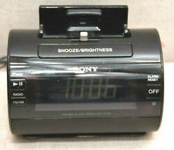 Sony ICF-C11IP iPod/iPhone Lightning Dock Speaker AM/FM Alarm Clock, WORKING