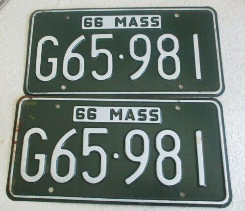 1966 Massachusetts  License Plate Tag  Pair G 65 981