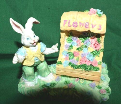 Estate Easter Village Decor, Flower Vender Wagon with Bunny as Vender  LOOK