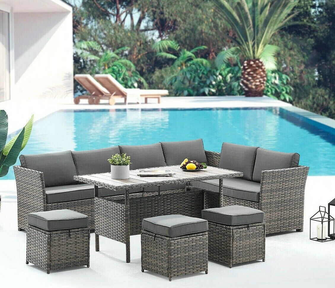 Garden Furniture - Rattan Garden Furniture Set Corner Lounge Outdoor Sofa Chair Stools Patio