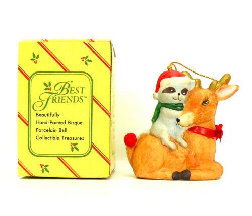 RACCOON/DEER Christmas Ornament Best Friends Hand Painted Bisque Porcelain Bell