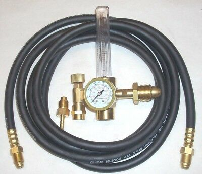 Argon Or Argonco2 Mix Flowmeter Mig Tig Welding Regulator W 10 Inert Gas Hose