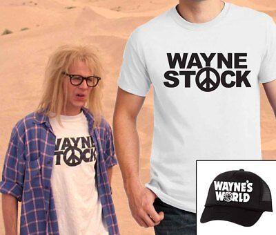 Wayne Stock T-shirt & Wayne's World Hat combo Garth Halloween Costume - Wayne's World Hat Halloween