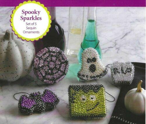 SPOOKY SPARKLES--5 Halloween Sequin Ornaments--DIY--Sequin KIT---TOO CUTE!!!