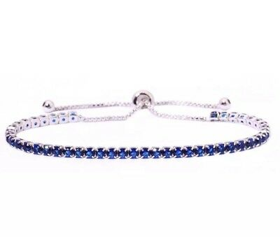 Sapphire Cinch Tennis Bracelet 3MM 14Kt White Gold Over 5 to 10 Inch NEW