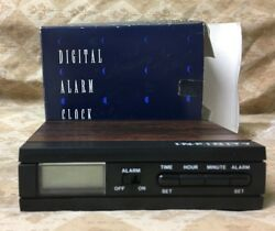 Retro Infinity Digital LCD Travel Alarm Clock Faux Wood Grain