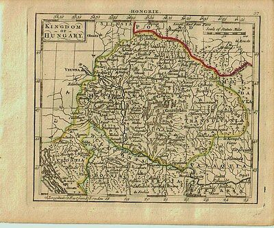 1761 Genuine Antique miniature hand colored map Kingdom of Hungary. by A. Dury