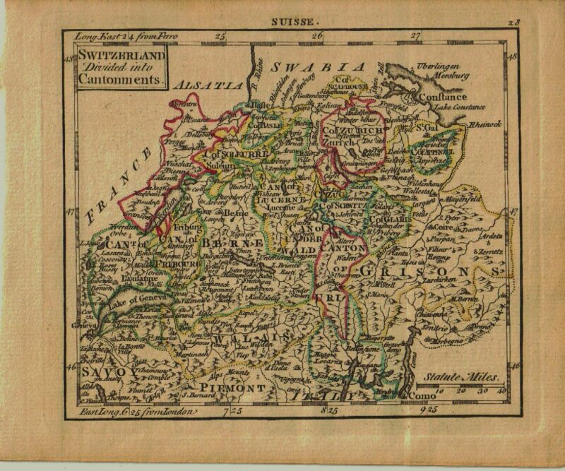1761 Genuine Antique miniature hand colored map of Switzerland. by A. Dury