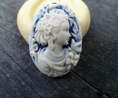 Lady cameo silicone push mold mould polymer clay resin Sugar Craft