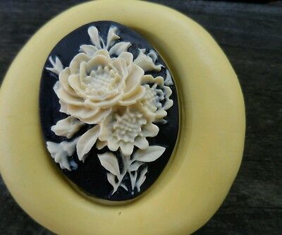 Rose, Flowers  cameo silicone push mold mould polymer clay resin Sugar Craft