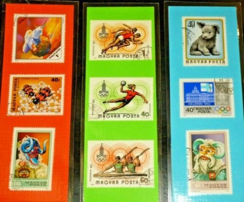 3 BOOKMARKS ~ HUNGARY Laminated POSTAGE STAMPS LOT ~ Budapest