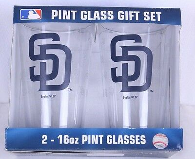 MLB San Diego Padres 2 16oz Pint Glasses Boelter Brands New Dishwasher (Good Eyeglasses Brands)