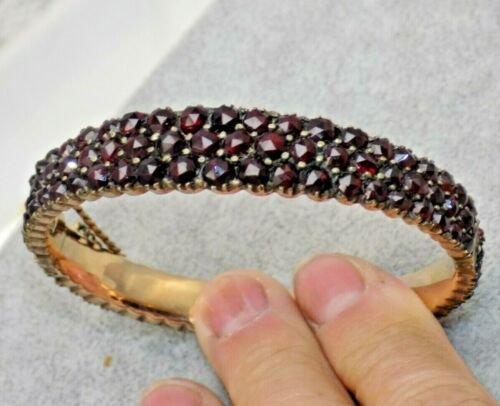 "Antique Victorian Edwardian Yellow GF Bohemian Garnet Bangle Bracelet 3/8"" Wide"