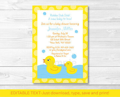 Rubber Ducky Baby Shower Invitations (Lil Rubber Ducky Printable Baby Shower Invitation Editable)