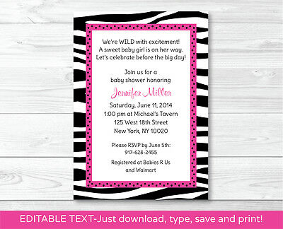 Pink Sassy Zebra Print Printable Baby Shower Invitation Editable PDF (Zebra Print Baby Shower Invitations)