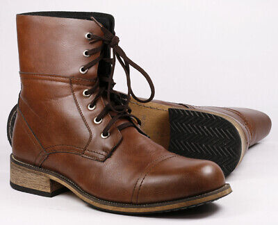 Brown Men's Lace Up Cap Toe Casual Fashion boot