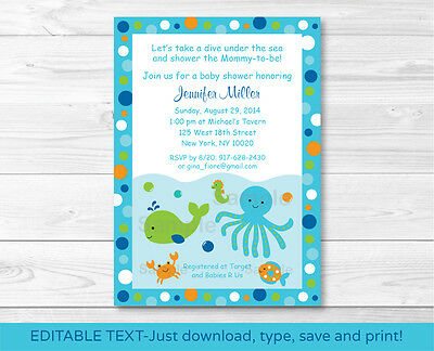 Under the Sea Octopus Crab Whale Nautical Baby Shower Invitation EDITABLE - Under The Sea Baby Shower Invites