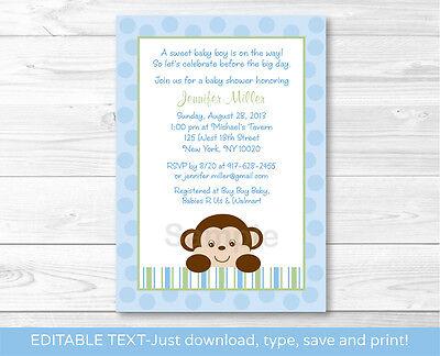 Baby Boy Monkey Blue Jungle Safari Printable Baby Shower Invitation Editable PDF (Monkey Invitations)