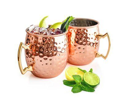 2 Stück Moscow Mule Becher Tassen Kupferbecher Kupfer Cocktailgläser Becher Neu