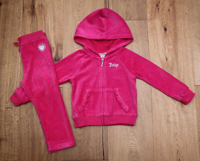 - Juicy Couture Toddler Girl 2 Piece Velour Jogging Set ~ Fuchsia & Silver ~Hearts