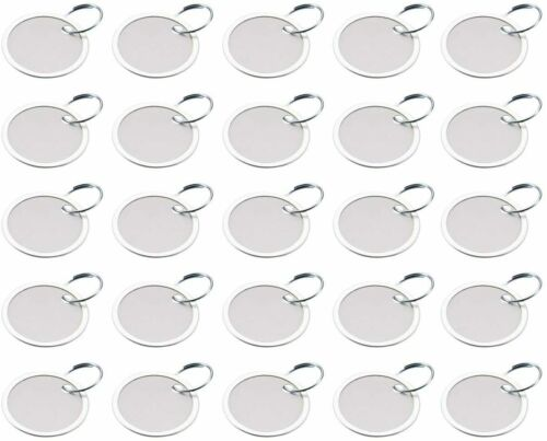 """Round Paper/Metal Key Tag 1-1/4"""" Split Ring, 50 Pack, White, Lucky Line 28229"""