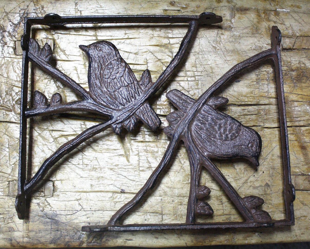 2 Cast Iron Antique Style BLUE BIRD Brackets Garden Braces Shelf Bracket