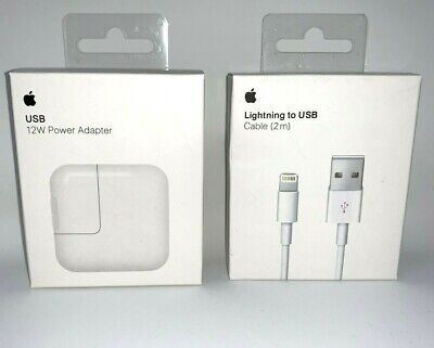Original 12W USB Power Adapter Charger for Apple 8 7 X iPad 2 3 4 Air & 2M Cable