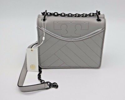 b9b0e7a7901 NWT Tory Burch Alexa Gray Quilted Leather Logo Chain Convertible Shoulder  Bag