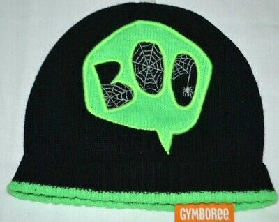 Gymboree Halloween Neon BOO Spiderweb Black Beanie Sweater Hat 2T 3T Boys - Boy Beanie Boos