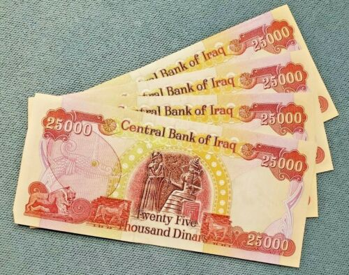 100,000 Iraqi Dinar (4 x 25,000 notes) 100k IQD * FREE SHIPPING * CIRC & UNC MIX