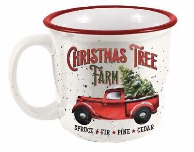 Christmas Tree Farm Red Truck Ceramic 14 Ounce Camper Mug 14 Ounce Red Mug