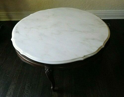 French Style Coffee Table With Round Marble Top Made In Portugal 36""