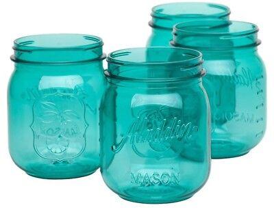 Colored Jars - Teal/Mint Colored Mason Jars, Decor, Wedding, 16 Ounce, Set Of 4