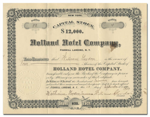Holland Hotel Company Stock Certificate (Fishkill Landing, Beacon, New York)