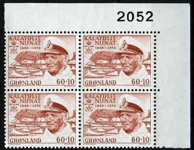 Greenland 1972, Death of King Frederik IX, 2052 Imprint block MNH, Mi 81