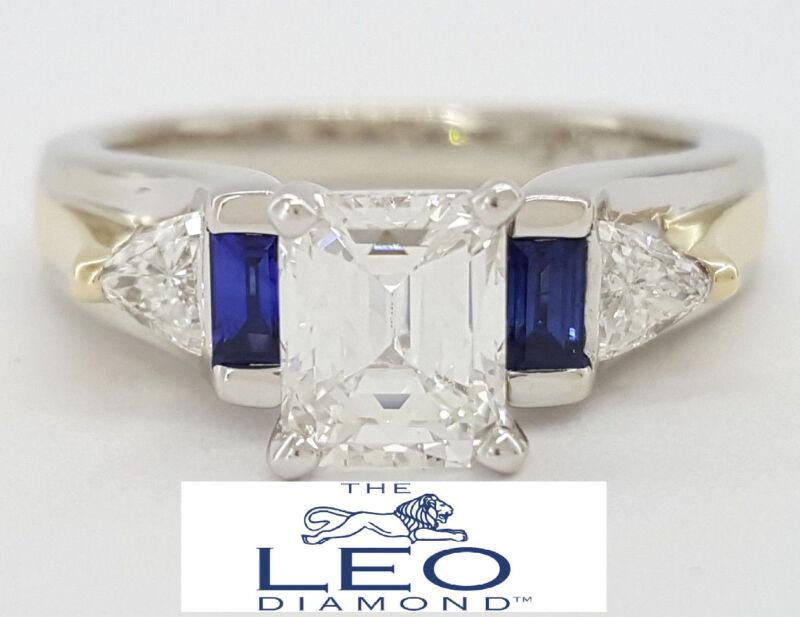 1.24 Ct 14k White Gold The Leo Emerald Mixed Cut Diamond Engagement Ring Igi
