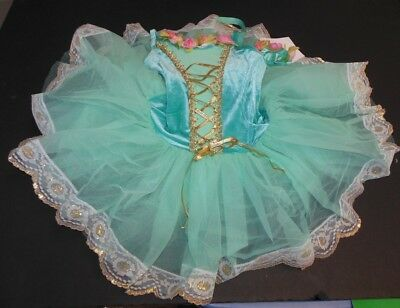 New Ballet Costume pistachio velvet gradueated tutu gold lace hem lacing 6x-7