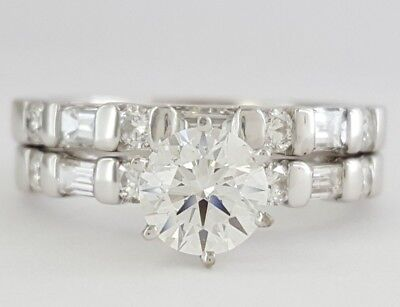 1.21 ct 18K White Gold Round Diamond Engagement / Wedding Band Ring Set GIA