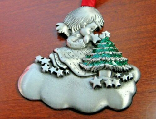 Gloria Duchin, Inc Pewter Girl with Christmas Tree Ornament Engravable 2003 USA