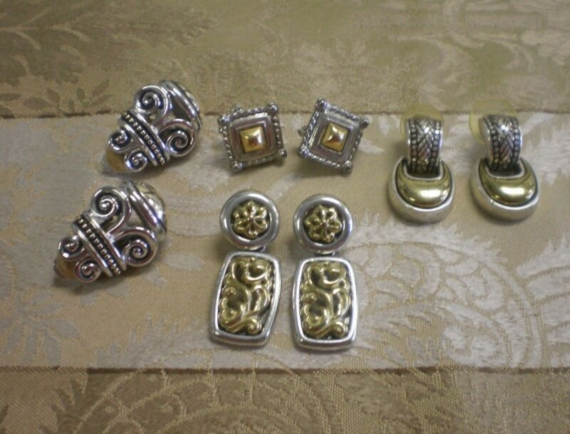 4 Pairs Earrings Silver & Gold Tones Two Tone Mixed Metal Doorknocker Etruscan