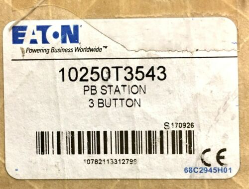 EATON CUTLER HAMMER 10250T3543 Pushbutton Control Station 3 Unit Red Flush Stop